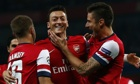 Arsenal's Mesut Özil celebrates with team-mates