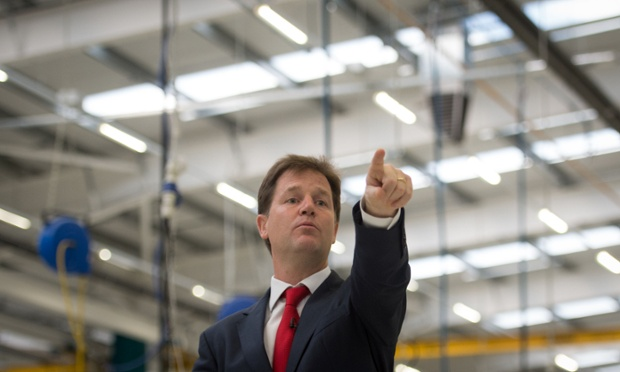 Nick Clegg making a speech at manufacturers Buhler Sortex Limited in east London on Monday.