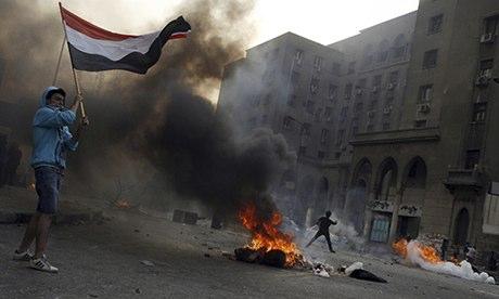 Tires burnining in Cairo
