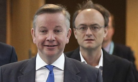 Education secretary, Michael Gove, is followed by special adviser Dominic Cummings
