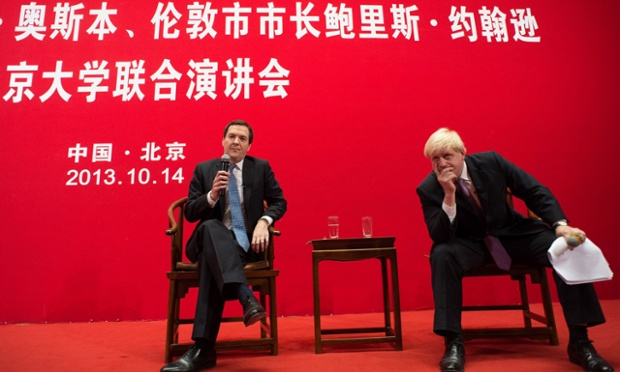 George Osborne and Boris Johnson holding a Q&A at Peking University in Beijing.