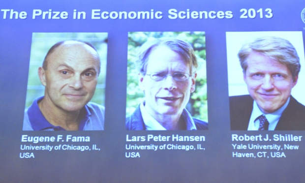 Eugene F Fama, Lars Peter Hansen and Robert J Shiller, the Nobel laureates in Economic Sciences 2013.