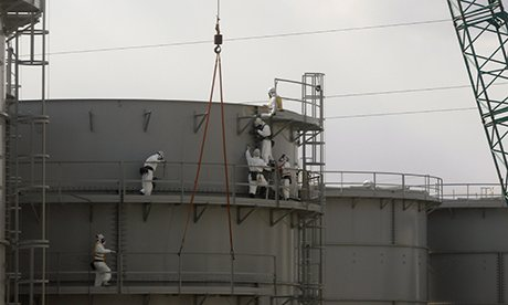 Workers constructing water tanks at Fukushima