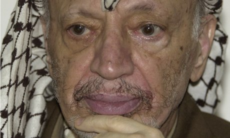Yasser Arafat died in a hospital near Paris in 2004 after falling ill while under Israeli military siege in the West Bank. Photograph: Nasser Nasser/AP