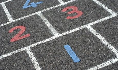 Numbers on a hopscotch grid