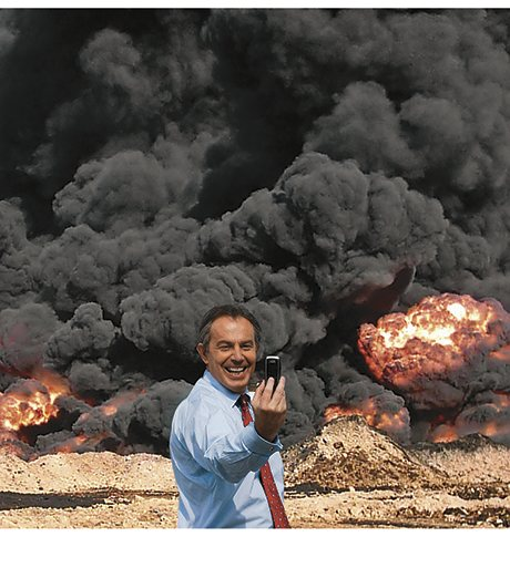 The Tony Blair 'selfie' Photo Op will have a place in history Art could not stop the war in Iraq but this photomontage – now on show at the Imperial War Museum North – can influence how that war is remembered