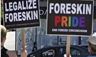 Protesters against male circumcision in Vancouver August 4, 2012. A pro-foreskin group, the Canadian