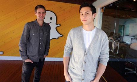 Snapchat co-creators Evan Spiegel and Bobby Murphy. Photograph: J. Emilio Flores/Corbis