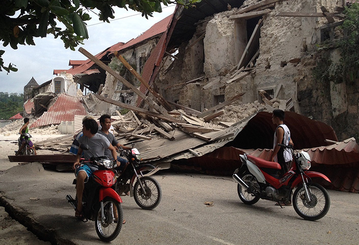 Philippines earthquake: The damaged Church of San Pedro in the town Loboc, Bohol