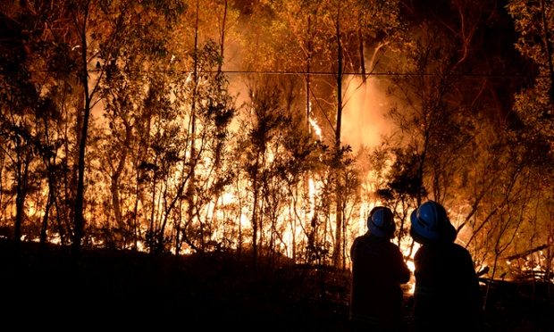 NSW RFS firefighters battle a bushfire burning close to homes on Patterson Street in Springwood in the Blue Mountains, west of Sydney.