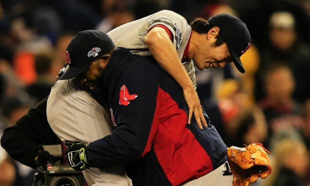 Boston Red Sox reliever Koji Uehara threw a five out save to shut down the Detroit Tigers in game five of the American League Championship Series. He's been carrying the Sox all season, it's no wonder that teammate David Ortiz wants to reciprocate.