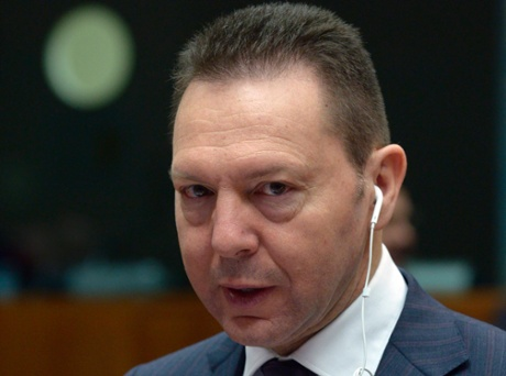 "Greek Finance Minister Yannis Stournaras attends an ecofin meeting at the European Union Council in Brussels, March 5, 2013. Stournaras has taken a swipe at the ""troika"" of creditors propping up the country's debt-stricken economy."