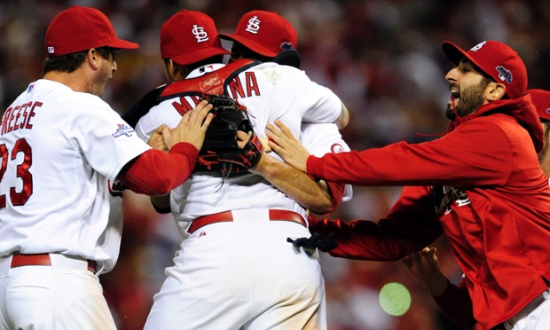 St Louis Cardinals celebrate reaching their fourth World Series in ten seasons after defeating the Los Angeles Dodgers, 9-0, in Game Six of the National League Championship Series.