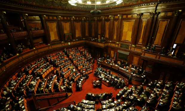 A view of the Senate as Italian Premier Enrico Letta delivers his speech, in Rome, Wednesday, Oct. 2, 2013.