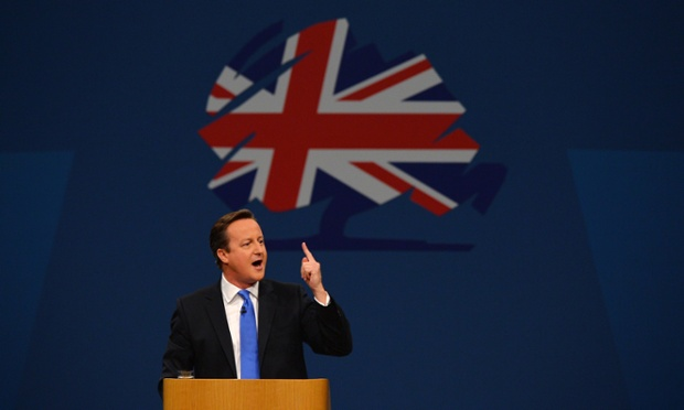 David Cameron addresses the Tory party conference on 2 October 2013.