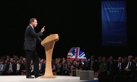 David Cameron speaks to the Conservative party conference in Manchester 2013