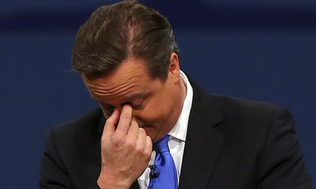 Troubled? David Cameron during his speech.