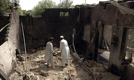 A house in Pakistan near the border with Afghanistan destroyed by a drone missile in 2008. Eighteen people including Islamist militants were killed. Photograph: Reuters