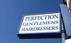 sign for perfection gentlemens hairdressers in twickenham, middlesex, england