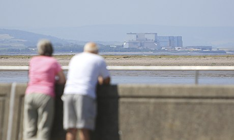 Holidaymakers look at Hinkley Point