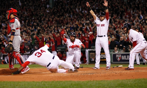 Mike Napoli's first inning double brought David Ortiz to his knees and rove in three runs, enough firepower in the Boston Red Sox 8-1 win over the St Louis Cardinals in Game One of the World Series.