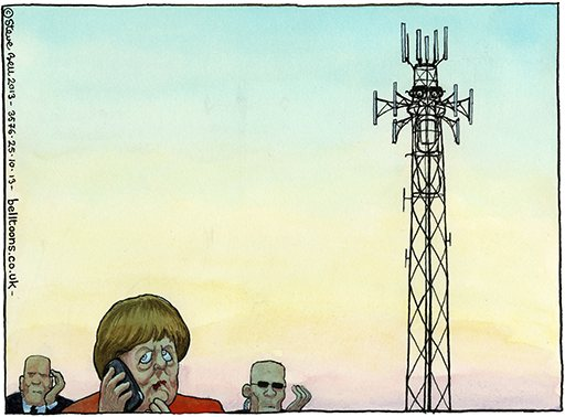 Steve Bell on the NSA bugging row ~ Angela Merkel and François Hollande have asked for a joint response to claims that the NSA bugged the chancellor's phone and intercepted French calls