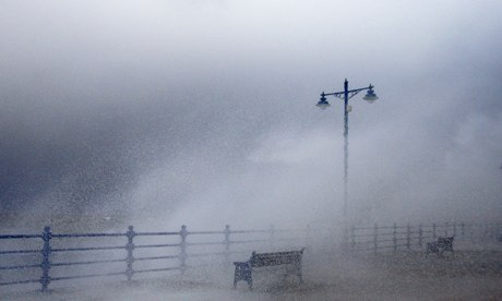 Waves hit the sea wall in Porthcall, south Wales