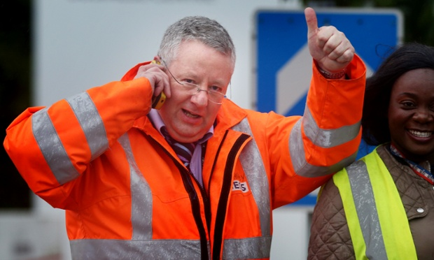 Worker Eddie Heaney celebrates after an announcement by owners Ineos to keep the Grangemouth petrochemical site open, saving thousands of jobs from being lost.