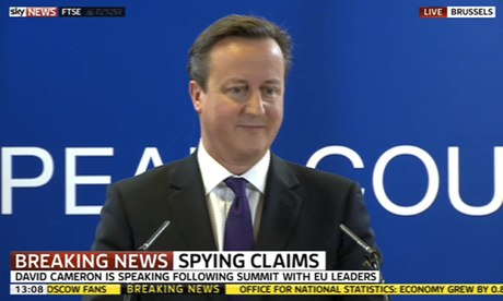 David Cameron speaking in Brussels today.