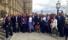 MP Julian Smith welcomes a group of about 40 staff from RAF Menwith Hill to Westminster