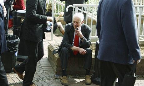 Tony Benn outside Labour conference