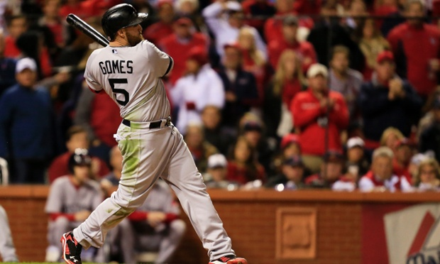 Jonny Gomes's 6th inning home run put the Boston Red Sox ahead of the St Louis Cardinals 4-1 in game four of the World Series, Boston would go on to win 4-2 to even up the series at 2-2 . Photograph: Dilip Vishwanat/Getty Images