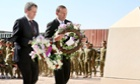 Bill Shorten and Tony Abbott lay wreaths as a mark of respect to the fallen during the recognition ceremony