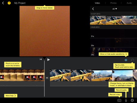 iMovie on iPad has lots of help