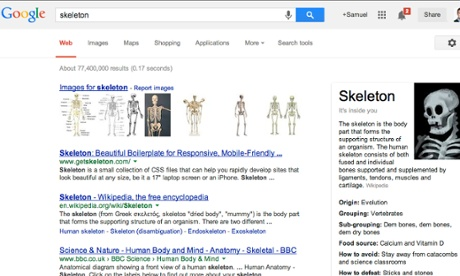 Google's Halloween Easter Eggs explain what a skeleton likes to eat, where it came from and how to defeat one