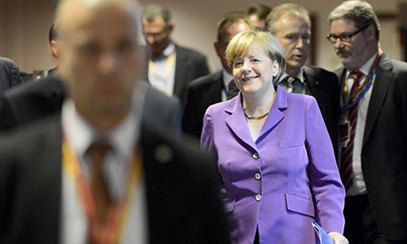 Angela Merkel at an EU summit in Brussels