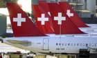 Swiss flags on Swissair plane tails