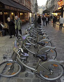 Velib rental bicycles in Paris
