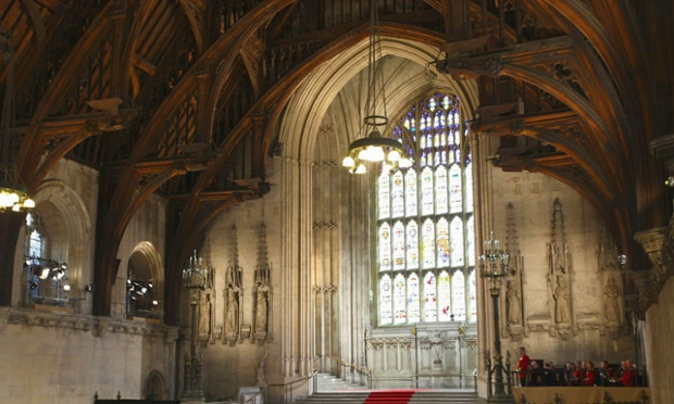 Westminster Hall in the Houses of Parliament.