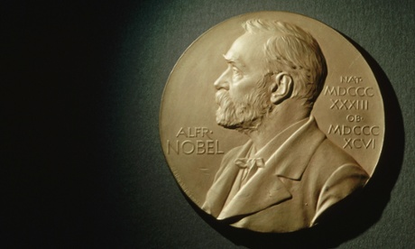 A Nobel Prize medal depicting Alfred Nobel