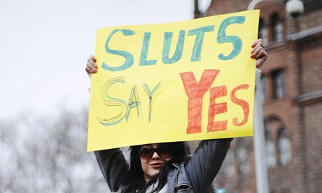 Reclaim or undermine? A protester on a Slutwalk demonstration in Toronto.