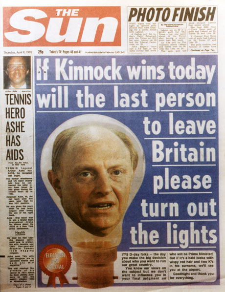 The Sun 'If Kinnock wins today, will the last person to leave Britain please turn out the lights