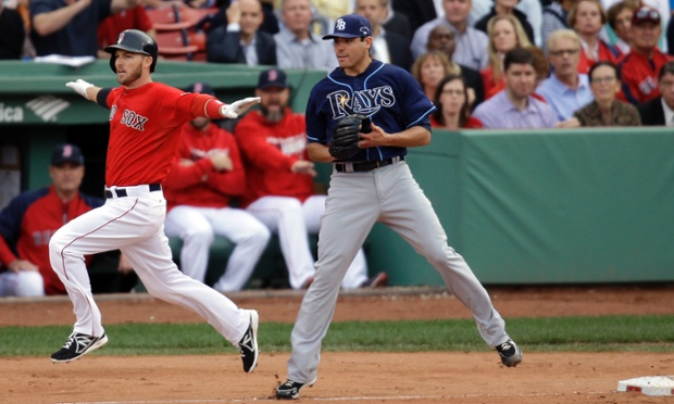 The Tampa Bay Rays' inability to record outs, including this Stephen Drew infield single, hurt them big in their ten run loss to the Boston Red Sox in game one of the American League Divisional Series.