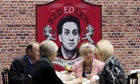 "Tory delegates take afternoon tea near to a spoof Ed Miliband-themed ""pub"" at the Manchester confere"