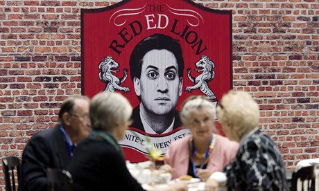Tory delegates take afternoon tea near to a spoof Ed Miliband-themed