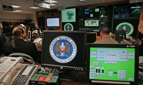 A computer workstation showing the National Security Agency (NSA) logo inside the Threat Operations Center in the Washington suburb of Fort Meade, Maryland.