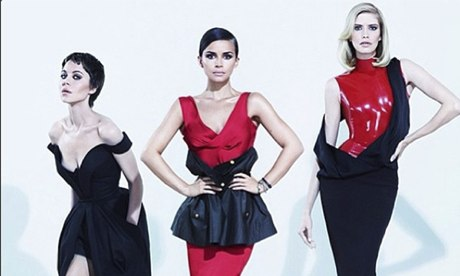Russian models in red and black for the TsUM department store in Moscow, as posted by Canadian fashi