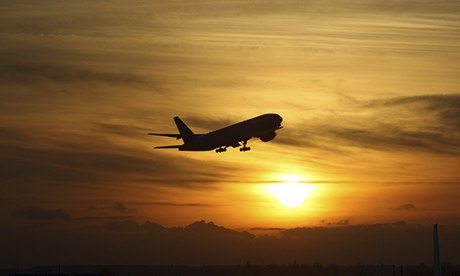 A plane takes off from Heathrow airport