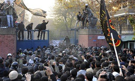 Iranian protesters storm the British embassy in Tehran in November 2011.
