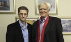 German politician Hans-Christian Ströebele (right) with NSA whistleblower Edward Snowden in Russia